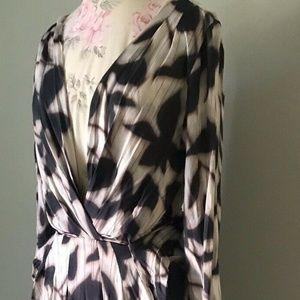 BCBG Stretch Jersey Faux Wrap Dress; Small